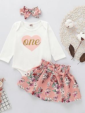 cheap Baby Girls' One-Piece-Baby Girls' Basic Easter Floral Long Sleeve Regular Clothing Set White / Toddler