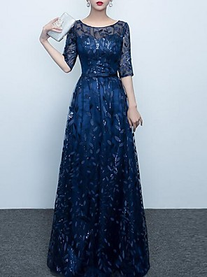 cheap Evening Dresses-A-Line Elegant Prom Formal Evening Dress Jewel Neck Half Sleeve Floor Length Polyester with Embroidery 2020