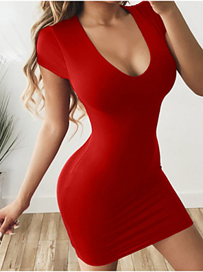 cheap Mini Dresses-Women's Mini Bodycon Dress - Short Sleeve Solid Colored U Neck Elegant Slim Wine Black Blue Red S M L XL XXL