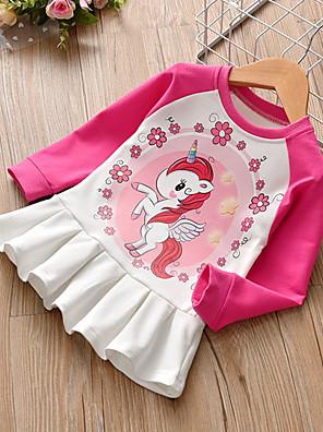 baratos Vestidos De Unicórnio-Infantil Para Meninas Estampa Colorida Vestido Rosa