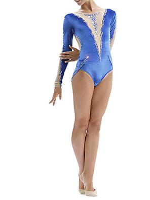 cheap Gymnastics-21Grams Rhythmic Gymnastics Leotards Artistic Gymnastics Leotards Women's Girls' Leotard Blue Spandex High Elasticity Breathable Handmade Jeweled Diamond Look Long Sleeve Training Dance Rhythmic