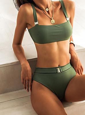 cheap Swimwear&Bikinis-Women's Plus Size Blushing Pink Army Green Blue Tankini Swimwear Swimsuit - Solid Colored S M L Blushing Pink