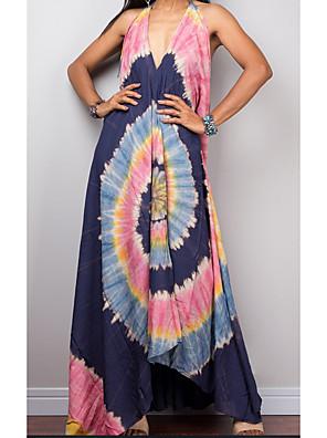 cheap For Young Women-Women's 2020 Maxi A Line Dress - Floral Print Deep V Spring & Summer Blushing Pink Blue M L XL