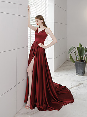 cheap Prom Dresses-A-Line Sexy Red Engagement Formal Evening Dress V Neck Sleeveless Chapel Train Charmeuse with Pleats Split 2020