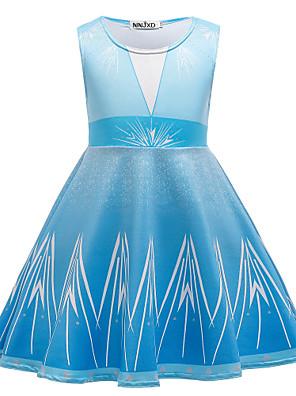 cheap Girls' Dresses-Kids Toddler Girls' Active Sweet Geometric Print Sleeveless Above Knee Dress Blue