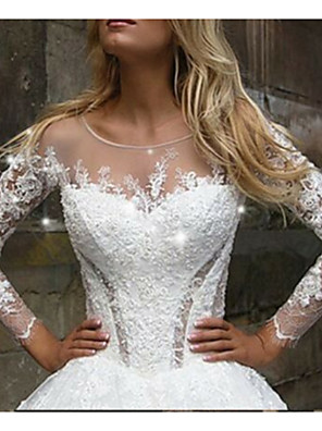 cheap Wedding Dresses-A-Line Wedding Dresses V Neck Court Train Tulle Long Sleeve Casual Plus Size Illusion Sleeve with Appliques 2020