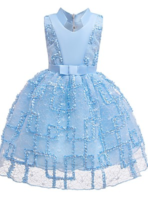 cheap Flower Girl Dresses-Ball Gown Knee Length Pageant Flower Girl Dresses - Polyester Sleeveless Queen Anne with Bow(s)