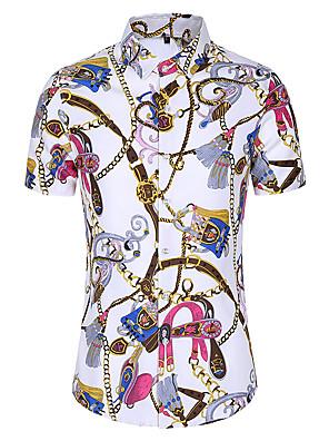 cheap Men's Pants & Shorts-Men's Plus Size Shirt Floral Print Tops Basic White