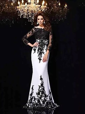 cheap Prom Dresses-Mermaid / Trumpet Wedding Dresses Bateau Neck Sweep / Brush Train Lace Tulle Lace Over Satin Long Sleeve Sexy Black Illusion Sleeve with Appliques 2020