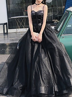 cheap Wedding Dresses-A-Line Elegant Black Prom Formal Evening Dress Spaghetti Strap Sleeveless Court Train Polyester with Pleats 2020