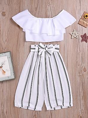 cheap Girls' Dresses-Kids Girls' Basic Striped Short Sleeve Clothing Set White
