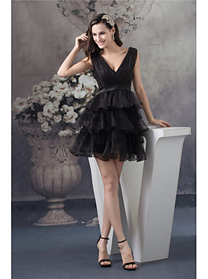 cheap Cocktail Dresses-A-Line Elegant Cocktail Party Dress V Neck Sleeveless Short / Mini Organza with Ruched Tier 2020