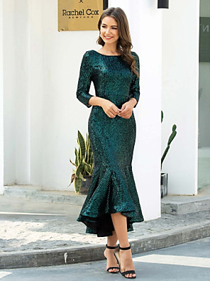cheap Evening Dresses-Mermaid / Trumpet Sparkle Cocktail Party Nightclub Dress Jewel Neck 3/4 Length Sleeve Tea Length Sequined with Sequin 2020