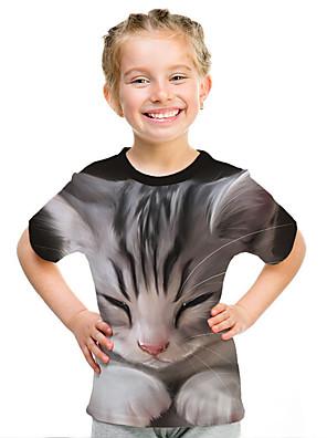 cheap Girls' Dresses-Kids Girls' Active Street chic Cat 3D Animal Print Short Sleeve Tee Gray