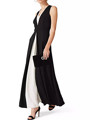 cheap Evening Dresses-A-Line Elegant Black Wedding Guest Formal Evening Dress V Neck Sleeveless Ankle Length Chiffon with Draping Split Front 2020