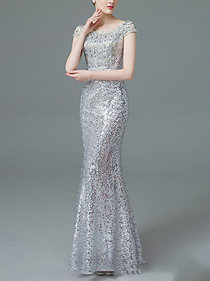 cheap Prom Dresses-Mermaid / Trumpet Sexy Sparkle Prom Formal Evening Dress Off Shoulder Short Sleeve Floor Length Polyester with Sequin 2020