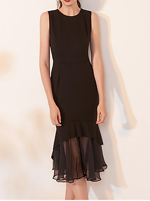 cheap Cocktail Dresses-Mermaid / Trumpet Elegant Party Wear Formal Evening Dress Jewel Neck Sleeveless Tea Length Spandex with Ruffles 2020