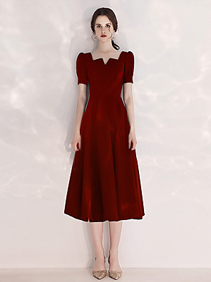 cheap Cocktail Dresses-A-Line Minimalist Red Cocktail Party Prom Dress Scoop Neck Short Sleeve Tea Length Velvet with Pleats 2020