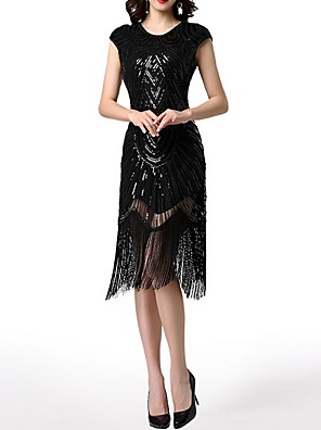 cheap Cocktail Dresses-The Great Gatsby Charleston Sheath / Column Roaring 20s 1920s Fashion Party Wear Cocktail Party Dress Jewel Neck Short Sleeve Knee Length Polyester with Sequin Tassel 2020