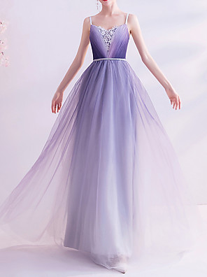 cheap Prom Dresses-A-Line V Neck Floor Length Lace / Tulle Bridesmaid Dress with Appliques