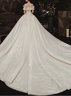 cheap Wedding Dresses-Ball Gown Off Shoulder Watteau Train Lace Cap Sleeve Formal / Romantic Wedding Dress in Color Wedding Dresses with Ruched 2020