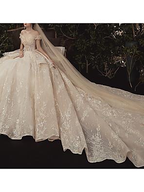 cheap Wedding Dresses-Ball Gown Off Shoulder Watteau Train Lace Short Sleeve Formal / Romantic Wedding Dress in Color Wedding Dresses with Lace Insert 2020