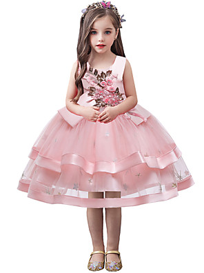 cheap Girls' Dresses-Kids Toddler Girls' Flower Sweet Solid Colored Sequins Embroidered Sleeveless Knee-length Dress Blushing Pink