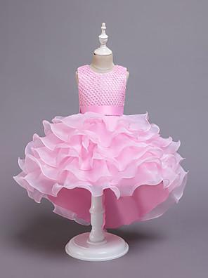 cheap Girls' Dresses-Kids Girls' Active Sweet Solid Colored Layered Sleeveless Knee-length Dress Purple