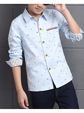cheap Boys' Tops-Kids Boys' Basic Chinoiserie Polka Dot Long Sleeve Shirt Blushing Pink