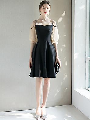 cheap Cocktail Dresses-A-Line Little Black Dress Black Wedding Guest Cocktail Party Dress Spaghetti Strap Half Sleeve Short / Mini Spandex with Pleats 2020