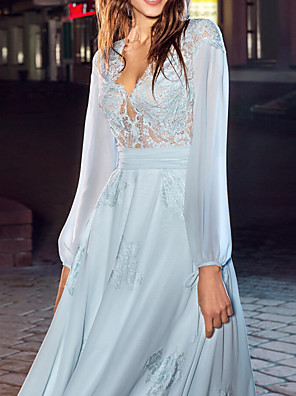 cheap Evening Dresses-A-Line Empire Blue Party Wear Formal Evening Dress V Neck Long Sleeve Floor Length Chiffon with Lace Insert Appliques 2020