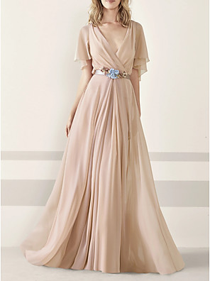 cheap Evening Dresses-A-Line Elegant Minimalist Engagement Formal Evening Dress V Neck Half Sleeve Sweep / Brush Train Chiffon with Sash / Ribbon Pleats Appliques 2020