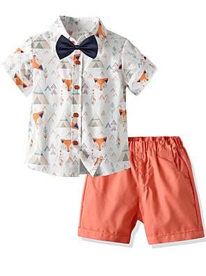 cheap Boys' Tops-Toddler Boys' Basic Birthday Party Party & Evening Cartoon Print Short Sleeve Regular Regular Clothing Set Orange