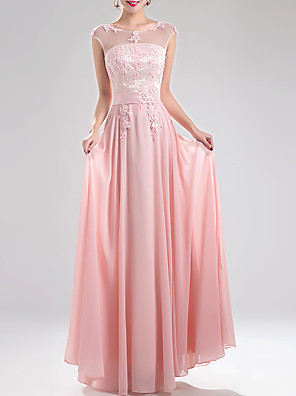 cheap Evening Dresses-A-Line Elegant Pink Prom Formal Evening Dress Jewel Neck Sleeveless Floor Length Chiffon with Appliques 2020