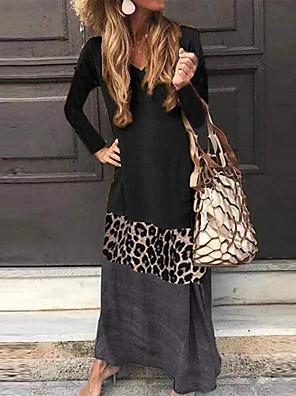 cheap Print Dresses-Women's Plus Size Maxi A Line Dress - Long Sleeve Color Block Patchwork V Neck Black Green Gray S M L XL XXL XXXL XXXXL XXXXXL