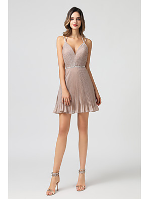 cheap Cocktail Dresses-A-Line Hot Pink Homecoming Cocktail Party Dress Spaghetti Strap Sleeveless Short / Mini Spandex with Criss Cross Beading 2020