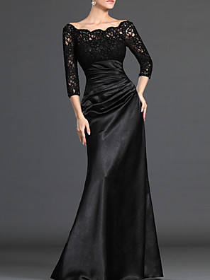cheap Prom Dresses-Sheath / Column Elegant Black Wedding Guest Formal Evening Dress Off Shoulder 3/4 Length Sleeve Floor Length Polyester with Ruched Lace Insert 2020