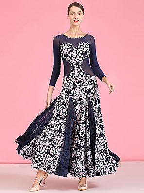 cheap Prom Dresses-Ballroom Dance Dress Pattern / Print Split Joint Women's Performance 3/4 Length Sleeve High Lace Tulle Linen / Cotton Blend