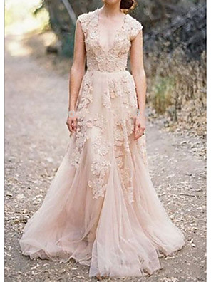 cheap Wedding Dresses-A-Line Wedding Dresses V Neck Sweep / Brush Train Lace Sleeveless Formal Wedding Dress in Color with Appliques 2020