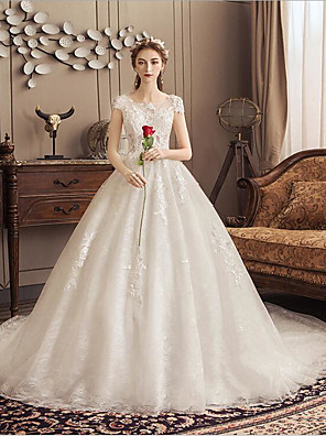 cheap Wedding Dresses-Ball Gown Wedding Dresses Jewel Neck Watteau Train Lace Tulle Polyester Short Sleeve Romantic with Lace 2020