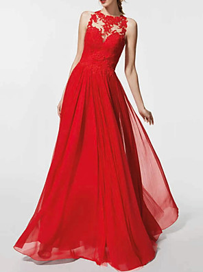 cheap Prom Dresses-A-Line Elegant Red Wedding Guest Prom Dress Jewel Neck Sleeveless Floor Length Chiffon with Pleats Appliques 2020