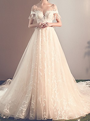 cheap Evening Dresses-A-Line Wedding Dresses Jewel Neck Sweep / Brush Train Tulle Short Sleeve Beach with Lace Insert Embroidery 2020