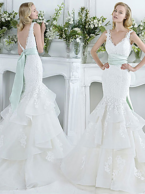 cheap Wedding Dresses-Mermaid / Trumpet Wedding Dresses V Neck Court Train Lace Tulle Sleeveless Sexy Plus Size with Bow(s) Cascading Ruffles 2020