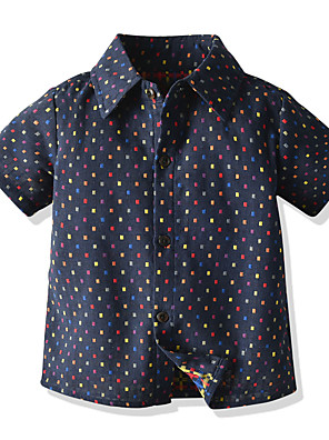 cheap Girls' Dresses-Kids Boys' Basic Polka Dot Short Sleeve Shirt Black