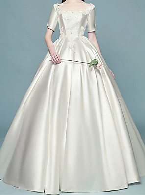 cheap Wedding Dresses-Ball Gown Scoop Neck Floor Length Lace / Satin Short Sleeve Formal / Simple Plus Size Wedding Dresses with Pearls / Lace Insert 2020