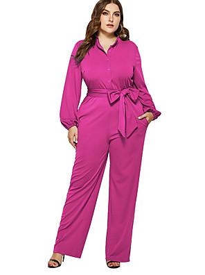 cheap Sexy Lingerie-Women's Basic Black Fuchsia Royal Blue Jumpsuit Onesie, Solid Colored XXL XXXL XXXXL