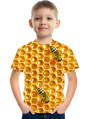 cheap Boys' Tops-Kids Boys' Basic Street chic Color Block 3D Print Short Sleeve Tee Yellow
