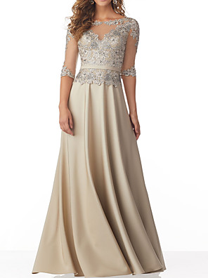 cheap Evening Dresses-A-Line Elegant Sparkle Wedding Guest Formal Evening Dress Illusion Neck Half Sleeve Floor Length Chiffon with Pleats Beading Appliques 2020