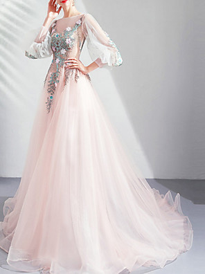 cheap Prom Dresses-A-Line Jewel Neck Floor Length Lace / Tulle Bridesmaid Dress with Appliques / Lace