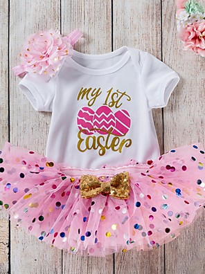 cheap Girls' Dresses-Baby Girls' Street chic Easter Print Short Sleeve Regular Clothing Set Blushing Pink / Toddler